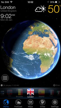 3D Earth - weather forecast and widget on App Store:   Meet 3D Earth. The most wonderful app. Ever. A clock and weather app unlike any you've ever seen. 3D Earth presents a stunning live 3D simulation of our planet with weather forecasts and world clock for cities around the world. Gaze at our planet floating amongst a universe of thous...  Developer: Dmitry Alaev  Download at http://ift.tt/1soH1O5