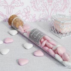 Eprouvette en verre personnalisée - contenant à dragées mariage - cadeaux invités
