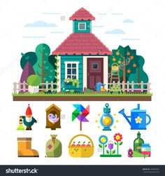 Garden And Orchard. House, Garden, Trees, Flowers Bed, Tools, Watering, Light, Basket, Fruit, Vegetables, Birdhouse. Vector Flat Illustration And Icon Set - 244992091 : Shutterstock