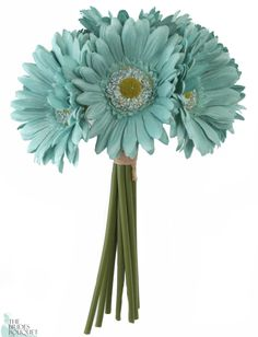 Tiffany Blue Daisy Bouquet - Bridal Wedding Bouquet - TheBridesBouquet.com