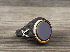 Black Onyx with Zulifiqar Swords, ring for a real warrior.