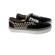 Studded Vans, Silver cone studs with Black vans / One side Studded by... ($95) ❤ liked on Polyvore
