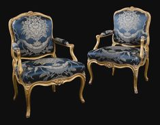 A pair of Louis XV carved giltwood fauteuils, circa 1760, each stamped CLBC three times.