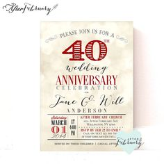 40th Anniversary Invitation   Ruby Red Wedding Anniversary   Light Bokeh  Background   Printable No.730