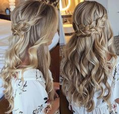 We braid hair since the dawn of time, so we found traces of braided hairstyles dating back to Prehistory! Wedding Hairstyles Half Up Half Down, Prom Hairstyles For Long Hair, Formal Hairstyles, Girl Hairstyles, Hairdos, Long Hair Wedding Styles, Wedding Hair And Makeup, Long Hair Styles, Beautiful Long Hair