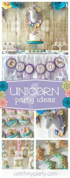 Don't miss this magical Unicorn birthday party! The birthday cake is amazing!! See more party ideas and share yours at CatchMyParty.com
