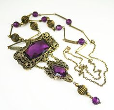 Antique Art Deco Amethyst Glass Gold Filigree by zephyrvintage, $145.00