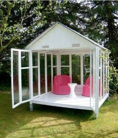 Gazebo, Elegant Playhouse or Outdoor Shed - DIY: Gazebo made out of old windows! by isabelle