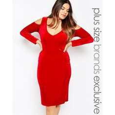 Pink Clove Cold Shoulder Velvet Dress ($24) ❤ liked on Polyvore featuring dresses, plus size, red, red dress, bodycon cocktail dress, velvet dress, plus size cocktail dresses and women plus size dresses
