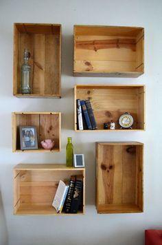 New wooden crate shelves diy home decor ideas Wooden Crates On Wall, Wooden Boxes, Wooden Box Shelves, Wooden Diy, Wine Box Shelves, Wine Boxes, Crate Bookcase, Wood Bookshelves, Diy Regal
