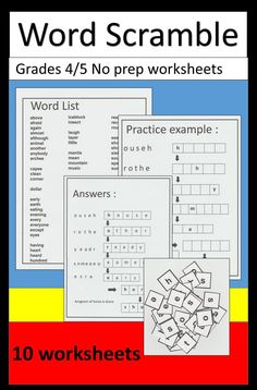 Scrambled words puzzles with an angram extension.  10 Quick and printable worksheets. Scrambled words activities. Scrambled words spelling. . Great spelling practice for students grades 4/5. word list and answers included.
