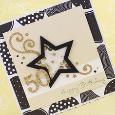 Shaker card with pop-up inside for a special birthday … 50th Birthday Cards, Happy Birthday, Shaker Cards, Gold Sequins, Pop Up, Stampin Up, I Am Awesome, Card Making, Creative