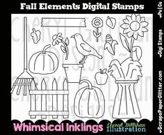 Fall Elements Digital Stamps, Black and White Image, Graphic, Commercial Use, Instant Download, Line Art, Pumpkin, Crow, Harvest, Sunflower by ResellerClipArt on Etsy Christmas And New Year, Winter Christmas, Holiday, White Image, Digi Stamps, Crow, Line Art, Image Graphic, Whimsical