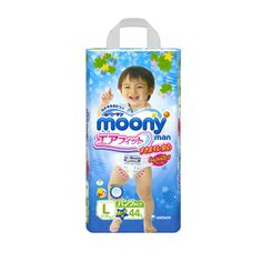 MOONY Airfit Large Size Pants Type is suitable for babies weighing between 9 - 14 kg. This product looks like regular children's underwear. It's easy to put on and take off, making it easy for children to learn how to look after themselves. Moony Airfit is made of breathing materials and contains no allergy causing ingredients.  Producer: Unicharm Country of Production: Japan Type: Pants Type Amount: 44 pants Weight: Approx. 2kg Delivery: Directly from Japan