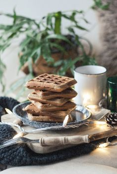 Chai + Oat Flour Waffles