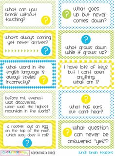 Printable Kids Lunch Jokes and Brain Teasers