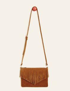 Pochette suédine à franges camel femme • Jennyfer