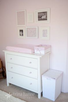 White IKEA Hemnes Dresser - pale pink nursery walls- I need an actually dresser for Ginny's room. Ikea Nursery, Nursery Dresser, Nursery Room, Girl Nursery, Girl Room, Nursery Ideas, Baby Dresser, Nursery Decor, Pink And Gray Nursery