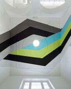 kreative Decken Streifen grün blau schwarz Gestaltung