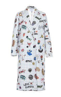 Notepad Printed Coat by Mira Mikati for Preorder on Moda Operandi