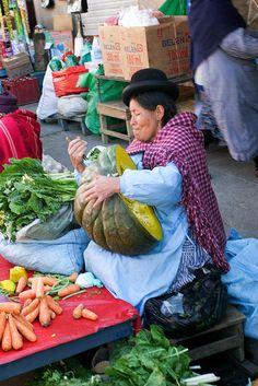 big squash, market, La Paz, Bolivia.  Photo: hubertguyon