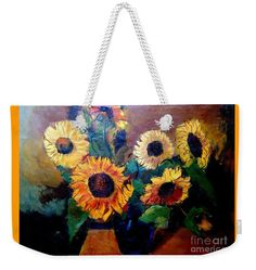 Sunflowers Weekender Tote Bag featuring the painting By Edgar A. Batzell Sunflowers by Expressionistartstudio Priscilla-Batzell