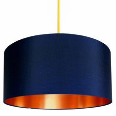 Buy Fabric Lampshade - Midnight Blue & Gold from our Pendant Lights range at Red Candy, home of quirky decor. Fabric Lampshade, Copper Lampshade, Gold Line, Blue Rooms, Lamp Shades, My New Room, Blue Gold, Metallic Gold, Gold Foil