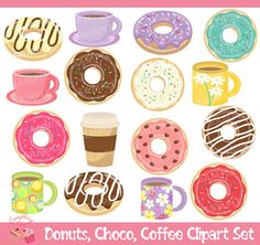 Donuts Choco Coffee Clipart Set by on Etsy Printable Planner, Party Printables, Planner Stickers, Donuts, Coffee Clipart, Pop Art, Decoupage, Polymer Clay Miniatures, Kawaii