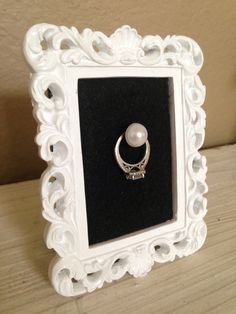 White and Black Wedding Ring Frame  by Downtownalyshop on Etsy https://www.etsy.com/listing/226821587/white-and-black-wedding-ring-frame