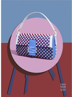 "Saying a magazine presents 3D objects in a 2D format is akin to  saying water is wet. But Marie Claire's latest accessories spread ""Pop Idols"" elevates this method in a way only comparable to Andy Warhol, sans the mass commercialism. Imagemaker Ilan Rubin both photographed and illustrated a selection of this season's best in bags, placing them on geometric, skewed renditions of tables and chairs in a restrained palette."