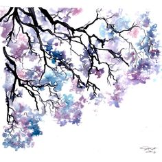 Meet me under the jacaranda tree, print from original watercolor study... ($25) ❤ liked on Polyvore featuring home, home decor, wall art, fillers, backgrounds, flowers, effects, art, borders and doodle