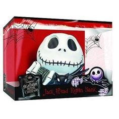 Nightmare Before Christmas Jack Skellington Head Resin Bank  Get a head on your savings with this Nightmare Before Christmas Bank! The Jack Skellington Bank is from The Nightmare Before Christmas. Fully painted and highly detailed NBX bank also makes a great paperweight or holiday decoration!