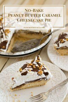 No-Bake Peanut Butter Caramel Cheesecake Pie recipe via flouronmyface.com