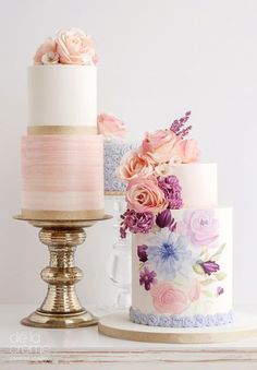 white 2 tier pink purple floral wedding cake mv -- Wedding Cakes We Love This Year Elegant Wedding Cakes, Beautiful Wedding Cakes, Gorgeous Cakes, Wedding Cake Designs, Pretty Cakes, Cute Cakes, Floral Wedding, Bolo Floral, Bolo Cake