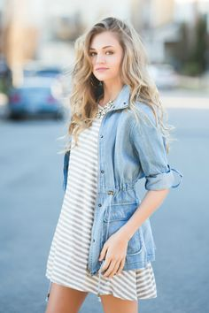 striped tshirt dress with chambray jacket