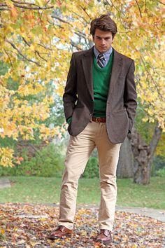 blue shirt, navy/yellow tie, green sweater, brown plaid jacket