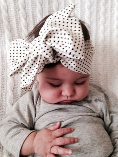 There's nothing cuter than a big bow on a sweet little babe! Find this adorable head wrap and more at luluandmila.etsy.com Repin to your own baby goods inspo board!