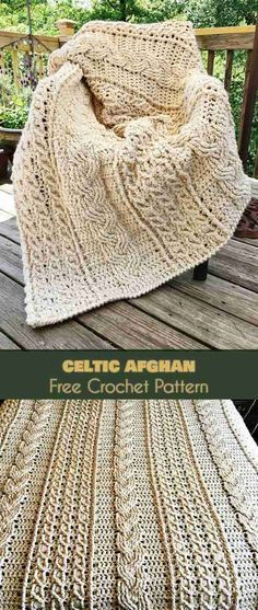 Look at this beautiful Celtic afghan! Free crochet pattern for this blanket. It looks so thick and cozy! #crochetblanket