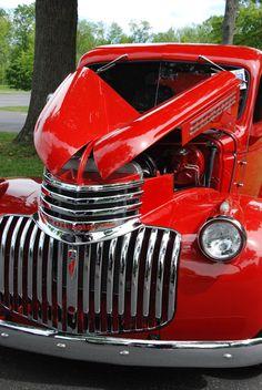Classic red Chevy truck - by Matt Jury
