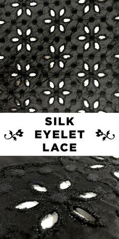 Black Silk Taffeta Floral Eyelet Lace #Flower #Apparel #Fashion