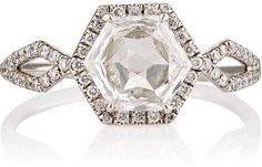 Monique Pean Mineraux Women's Hexagonal White Diamond Ring