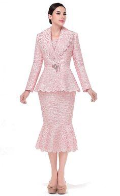 Serafina - Mermaid Flounce Hem Skirt Suit With Scallop Trim Design - Spring ExpressURWay Church Dresses, Grad Dresses, Church Outfits, Wedding Dresses, Women Church Suits, Suits For Women, Skirt Suit Set, Career Wear, Kebaya