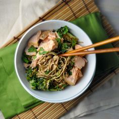 Salmon Noodle Bowl;  Ingredients:  4 ounces soba buckwheat noodles or whole-wheat spaghetti 5 ounces asparagus, cut in thirds Cooking spray 1 (6-oz) salmon fillet, skin off, cut into 8 pieces 1 tablespoon toasted sesame oil Zest and juice of 1-2 limes (3 TBSP juice) 1/4 teaspoon kosher salt 1/4 teaspoon fresh pepper 4 ounces cucumber, skin on, cut into medium pieces 1/2 small avocado, cut into bite-size pieces;  Nutritional Fact:   Calories: 492 Fat: 21.9g Protein: 29g Carbs: 47g