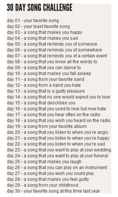 i am so excited for this challenge since it's my first one!(and it's about music sooo.)i hope i will be able to upload every day since it's a challenge Music Mood, Mood Songs, The Chainsmokers Paris, Happy Days Song, 30 Day Song Challenge, Challenge Accepted, Water Challenge, Plank Challenge, Health Challenge