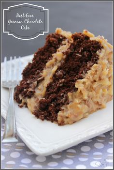 Moist chocolate cake and traditional coconut pecan frosting, layer upon layer of goodness.
