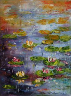 Water Lilies Impression Original IMPASTO Oil Painting EU Artist Nymphéas Flowers