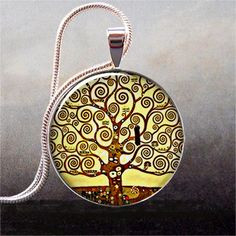 Klimt Tree of Life pendant tree necklace by thependantemporium, $9.25