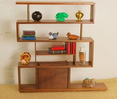 Modern Miniature Z Shelving in walnut  1:12 scale by minisx2 on Etsy https://www.etsy.com/listing/173478670/modern-miniature-z-shelving-in-walnut