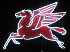 Mobil Pegasus Gasoline Neon Sign - myneonhaven.com