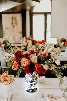My Spanish Themed Bridal Shower - Blue and white china porcelain vases.